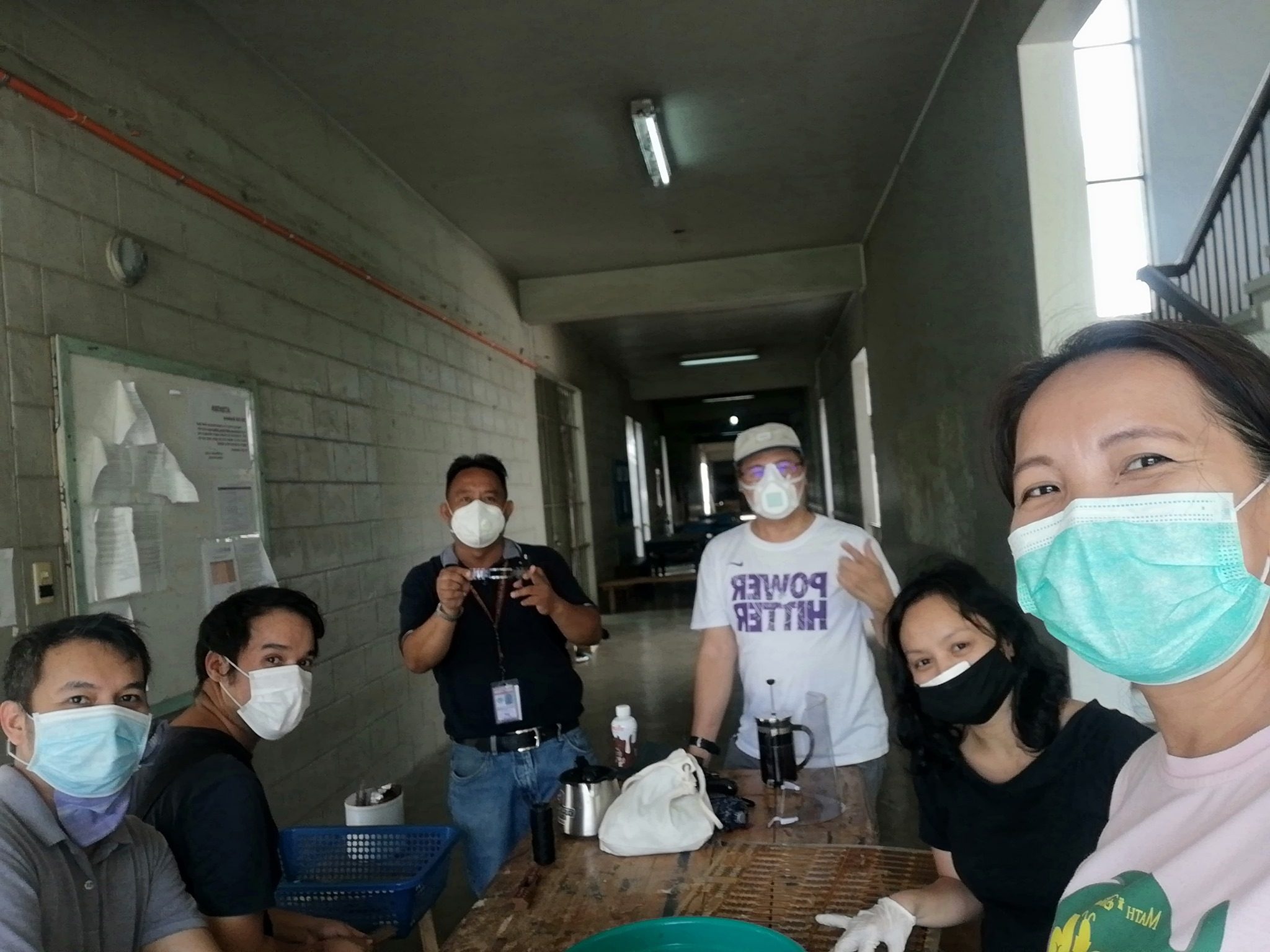 The IMSP Fab Lab Team cleaning the earguards for distribution to frontliners.